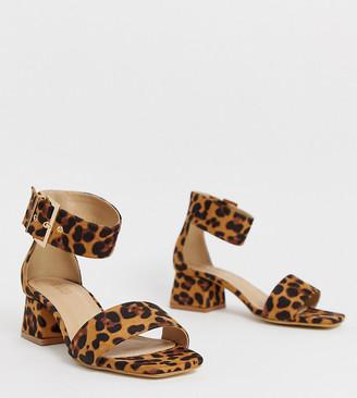 RAID Wide Fit leopard print block heeled sandals