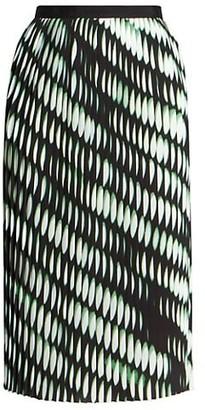 Dries Van Noten Abstract Pleated Midi Skirt