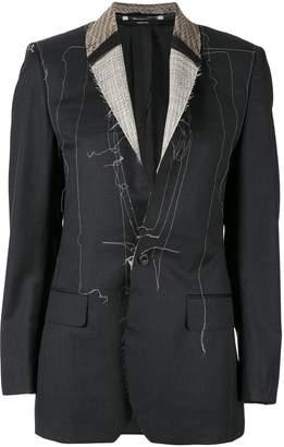 R 13 distressed contrast stitching blazer
