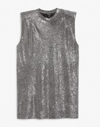 Monki Alvina t-shirt mini dress with shoulder pads in silver glitter