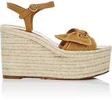 Valentino Women's Tropical Suede & Leather Espadrille Wedge Sandals-TAN