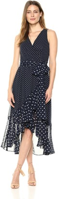 Eliza J Women's Polka Dot Faux Wrap Dress