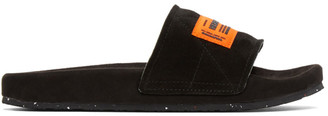 Heron Preston Black and Orange Sponge Slides