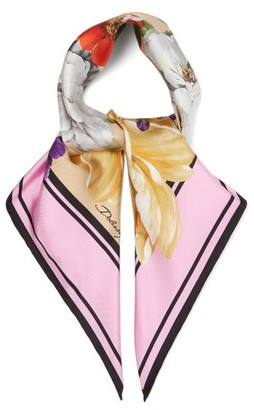 Dolce & Gabbana Floral-print Silk Scarf - Pink Print