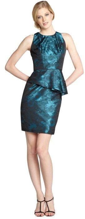 Carmen Marc Valvo teal and black floral jacquard peplum dress