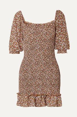 Faithfull The Brand Es Saada Smocked Ruffled Printed Crepe Mini Dress - Brown