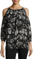 Max Studio Cold-Shoulder Floral-Print Top, Black