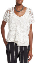 Brunello Cucinelli Intarsia-Embroidered Lace Top & Tank, Ivory