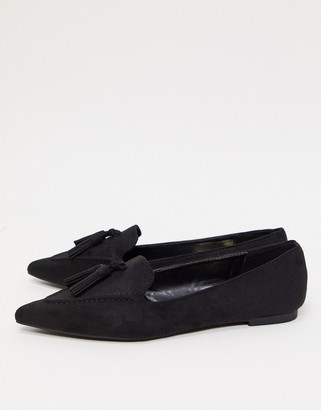 Miss Selfridge pointed flats with tassels in black
