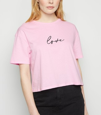 New Look Bright Embroidered Slogan Boxy T-Shirt