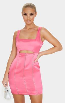 PrettyLittleThing Hot Pink Sleeveless Cut Out Diamante Stripe Bodycon Dress