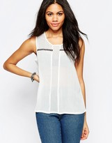 Brave Soul Sleeveless Tank With Embroidered Tape