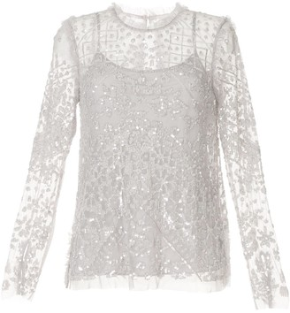 Needle & Thread Sequin Embellished Longsleeved Blouse