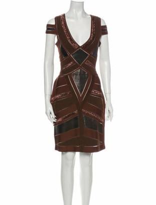 Herve Leger Printed Knee-Length Dress Brown