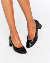 Faith Cassidy Black Leather Mid Heeled Shoes