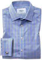 Charles Tyrwhitt Classic Fit Non-Iron Prince Of Wales Blue and Gold Cotton Formal Shirt Single Cuff Size 16/38