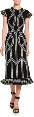 Alexander McQueen Chain Print Midi Dress