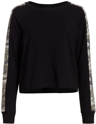 Monrow Camo Stripe Cotton Sweatshirt