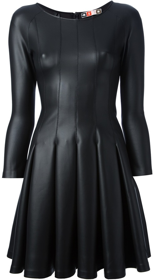 MSGM pleated faux leather dress