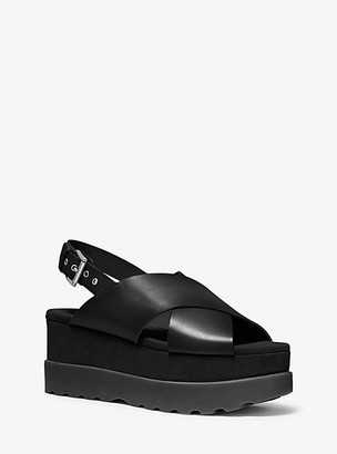 Michael Kors Becker Burnished Leather Flatform Sandal