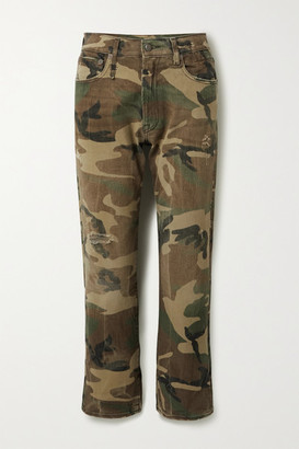R 13 Distressed Camouflage-print Mid-rise Straight-leg Jeans - Beige