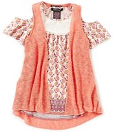 Xtraordinary Big Girls 7-16 Solid Vest & Printed Top Set