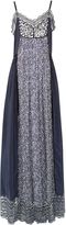 Chloé Contrast-print lace-trimmed maxi dress