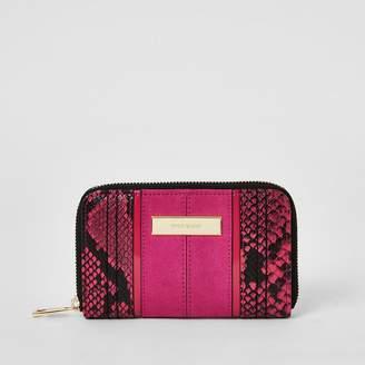 River Island Pink snake print zip around purse