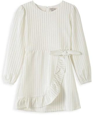 Habitual Little Girl's Stripe Puff-Sleeve Wrap Velour Dress