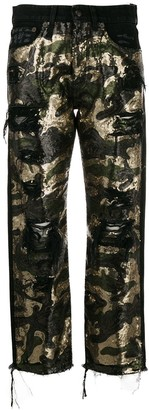 R 13 Camouflage Straight-Leg Jeans