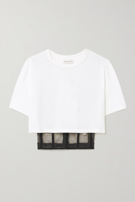 Alexander McQueen - Cropped Layered Cotton-jersey And Tulle T-shirt - White