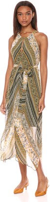 BCBGMAXAZRIA Azria Women's Stripe Sleeveless Handkerchief Dress