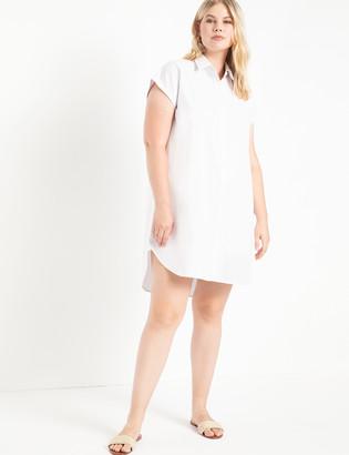 ELOQUII Easy Stepped Hem Shirtdress