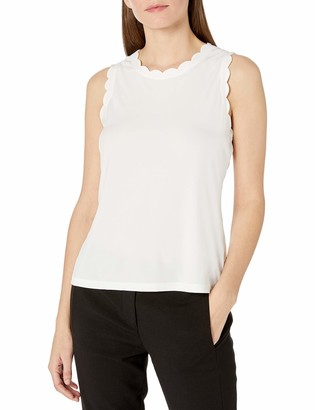 Kasper Women's Cap Sleeve Scallop Trimmed Scoop Neck Knit CAMI