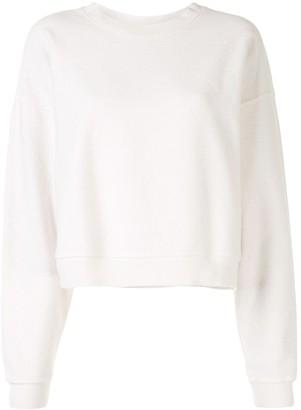 Anine Bing Reed rib-trimmed cotton sweatshirt