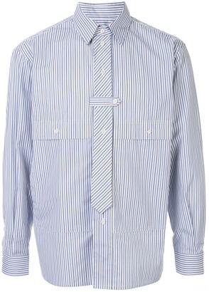 Gr Uniforma Tie-Detail Striped Shirt