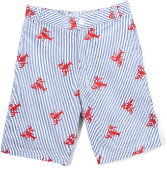 SAM. Sophie & Boys' Casual Shorts Blue - Blue & Red Lobster Seersucker Shorts - Boys