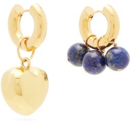 Timeless Pearly Mismatched Heart & Lapis Gold-plated Earrings - Blue Multi