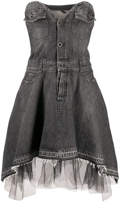 Unravel Project Sweetheart-Neckline Denim Dress