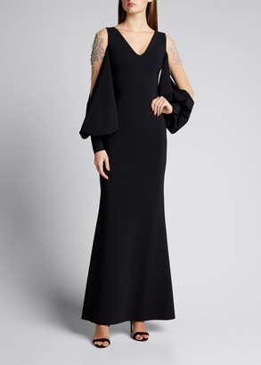 Chiara Boni V-Neck Jewel-Embellished Balloon-Sleeve Gown