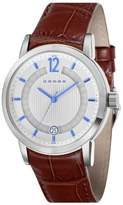 Cross Cambria Men's Quartz Watch with White Dial Analogue Display and Brown Leather Strap CR8006-02