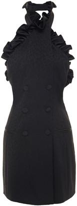 Dundas Ruffled Wool-blend Jacquard Halterneck Mini Dress