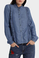Only Amy Long Sleeve Frill Denim Shirt