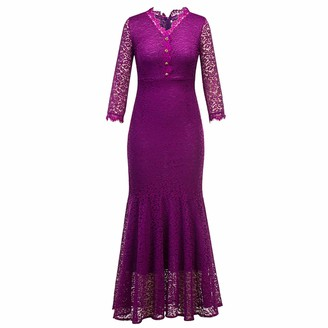 JEATHA Women Vintage Long Sleeves Hollow Out Lace Dress Slim Fit Party Wedding Cocktail Mermaid Sheath Dress Burgundy XXL