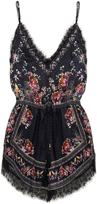 Camilla Lace-trimmed Crystal-embellished Printed Silk Crepe De Chine Playsuit