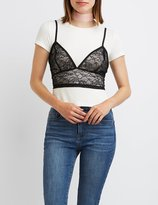 Charlotte Russe Lace Layered Crop Top