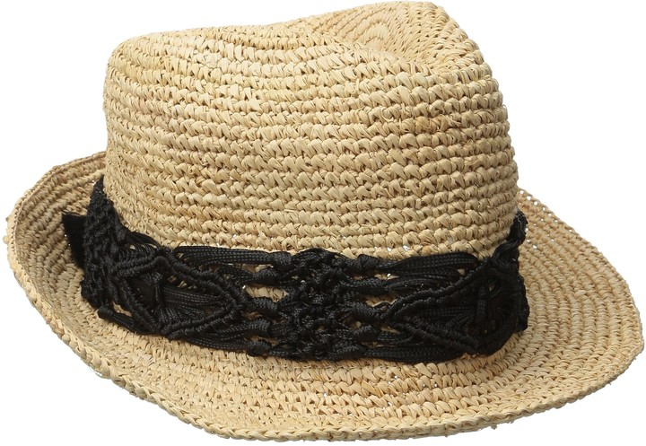 Physician Endorsed Women's Malia Crochet Raffia Hat with Macrame Trim