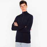Men's Dark Navy Merino Wool Half-Zip Sweater