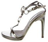 Calvin Klein Collection Metallic T-Strap Sandals