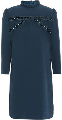Sandro Hugo Faux Pearl-embellished Cloque Mini Dress